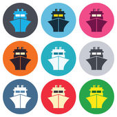 Ship or boat sign icons — Stock Vector