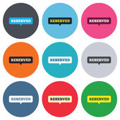 Reserved sign icons — Vector de stock