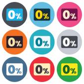 Zero percent sign icons — Stock Vector