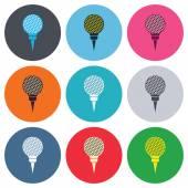 Golf ball on tee sign icons — Stock Vector