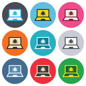 Laptop virus sign icons — Vetor de Stock