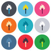 Match stick burns icons — Stock Vector
