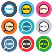Icônes de signe Byod — Vecteur