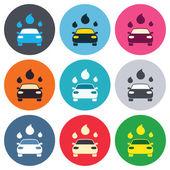 Car wash sign icons — Vector de stock