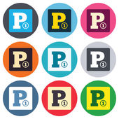 Paid parking sign icons — Stock Vector