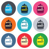 Honey in pot sign icons — Stock Vector