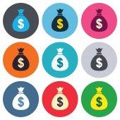 Money bag sign icons — Vecteur