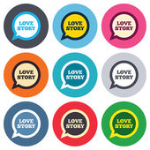 Love story speech bubble signs — Wektor stockowy