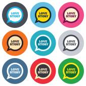 Love story speech bubble signs — Vettoriale Stock