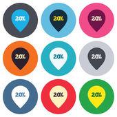 20 percent sale pointer — Vector de stock