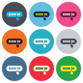 Sign in with hand pointer icons — Stockvektor