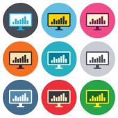 Computer monitor sign icons — Vecteur