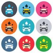 Car wash sign icons — 图库矢量图片