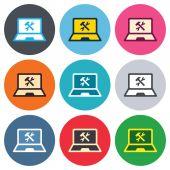 Laptop repair sign icons — Stock Vector