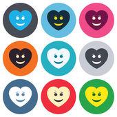 Smile heart face icons — Stok Vektör