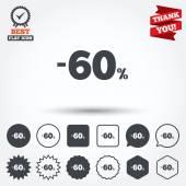 60 percent discount signs — Stock Vector