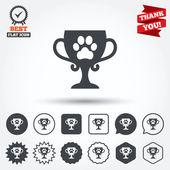 Kazanan evcil hayvan Kupası işareti simgeleri — Stok Vektör
