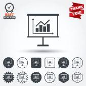 Presentation billboard sign icons — Vector de stock