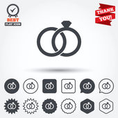 Wedding rings sign icons — Stock Vector