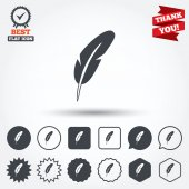 Feather sign icons — Stock Vector