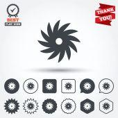 Saw circular wheel signs — Stockvector