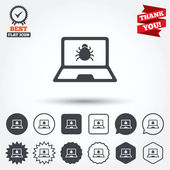 Laptop virus sign icons — Stock Vector