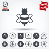 Bee sign icons — Stock Vector