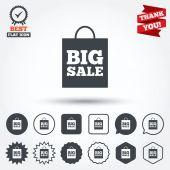 Big sale bag sign icons — Stockvektor