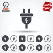 Icone del segno della spina elettrica — Vettoriale Stock