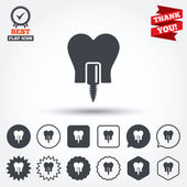 Tooth implant sign icons — Stock Vector