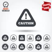 Attention caution sign icons — Stock Vector