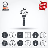 Torch flame sign icons — Stock Vector