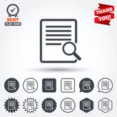 Search in file sign icons — Stock Vector