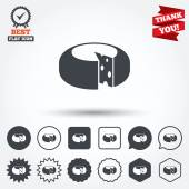 Cheese wheel sign icons — Stock Vector