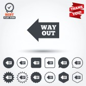 Way out left sign icons — Stock vektor
