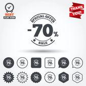70 percent discount signs — Stock Vector