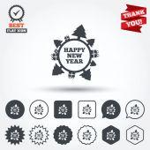 Happy new year globe signs — Stock Vector