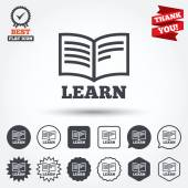 Learn Book sign icons — Stock Vector