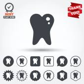 Caries tooth sign icons — Stock Vector