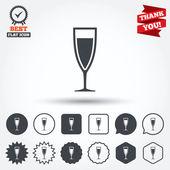 Kieliszek szampana znak ikony — Wektor stockowy