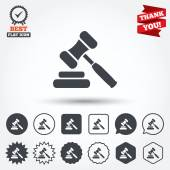 Auction hammer icons — Stock Vector