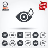 Eye with water drop signs — Stock Vector
