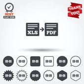Export XLS to PDF icons — Vettoriale Stock