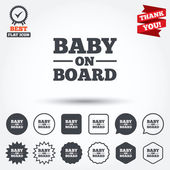 Baby on board sign icons — Stock Vector