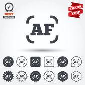 Autofocus photo camera signs — Stock Vector