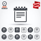 Notepad sign icons — Stock Vector