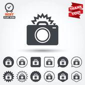 Photo camera sign icons — Vector de stock