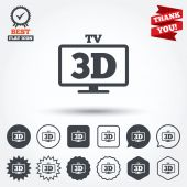 3D TV sign icons — Vector de stock