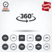 Angle 360 degrees signs — Vector de stock