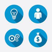 Human and lamp bulb idea icons. — Stock Vector